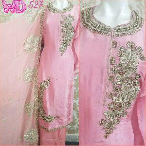 Ladies Silk Party Wear Suits W-527