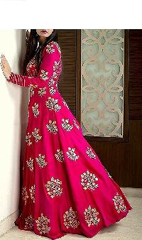 Heavy Pink Embroidery Tapeta Silk Salwar Suits
