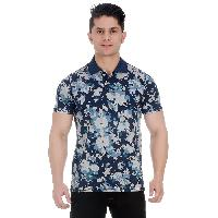 GirggiOverdyed Snorkel Blue All Over Floral Print Pique Cotton Polo T-Shirt For Men With Enzyme Wash