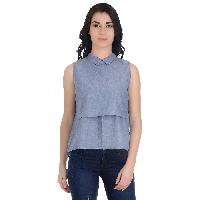 Girggit blue-cotton-georgette-sleeveless-layered-top-with-collar