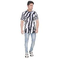 Girggit All Over Striped Floral Print Gibralter See Half Sleeves Casual Shirt With Silicon Wash