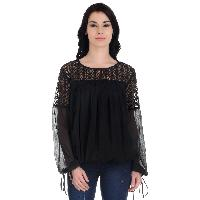 Girggit Black Polyester Chiffon Round Neck 3/4th Sleeves Top With Lace Cut And Sew