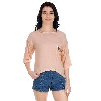 Girggit Dusty Pink Rayon Round Neck Ladder Lace Top With 3/4th Sleeves And Butterfly Embroidery