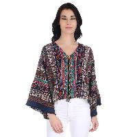 Girggit Multi Color Polyester Crepe Paisley Kimono Sleeves Jacket With Front Zipper