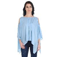 Girggit Ocean Blue Viscose Boat Neck Pleated Drop Shoulder Top With 3/4 Sleeve