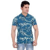 Girggit Overdyed Stargazer All Over Coastal Print Pique Cotton Polo T-Shirt With Enzyme Wash