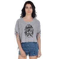 Girggit Round Neck Cow Boy Fringes Boat Neck Top For Women With Print