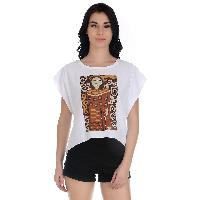 Girggit Round Neck Knitted Woven Front Panel Printed Crop Top