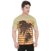 Men Coastal Graphic Girggit Round Neck Lint Cotton T-Shirt