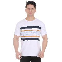 Girggit Round Neck White Cotton T-shirt For Men With Pixelated Striped Graphic