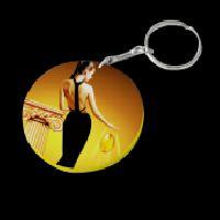 60mm Yellow Thick Round Plastic Keychain