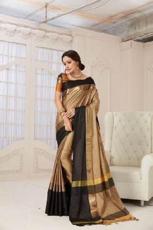 Designer Pure Cotton Saree (Black and Golden color)