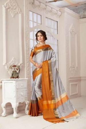 Designer Pure Cotton Saree (Dark Yellow and Gray color)
