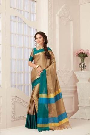 Designer Pure Cotton Saree (golden And Sea Green Color)