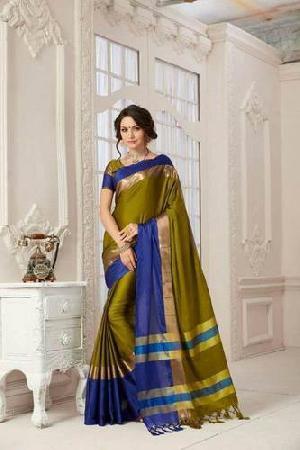 Designer Pure Cotton Saree (Green and Dark Blue color)
