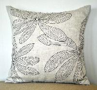 I Nature Linen Fabric Cut Work Cushion Cover