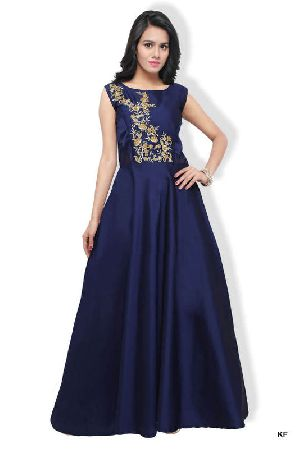 Kf Elegant Navy Blue Mohe Heavy Embroidered A-line Gown