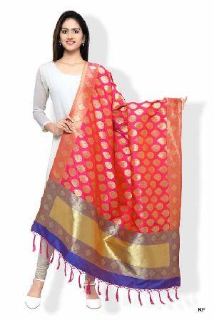 Kf Rani Pink And Royal Blue Banarasi Dupatta With Floral Motifs