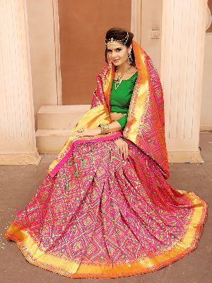 Krutifashion Pink And Green Banarasi Patola Style Saree