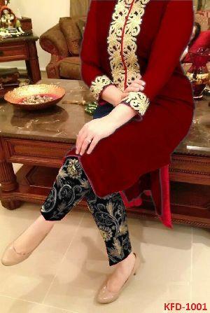Ladies Wear New Red Color Georgete Party Wear Salwar Kameez