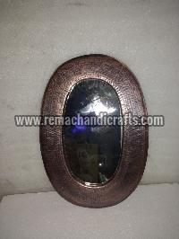 6006 Oval Shaped Hammered Copper Mirror