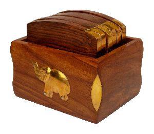 Wooden 6 Tea Coaster Set