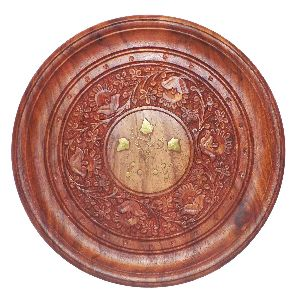 Wooden Handcrafted Plate With Center Brass Work