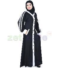 Islamic Front Open Black Abaya Za-207