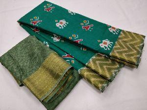 Ikat Printed Silk Saree