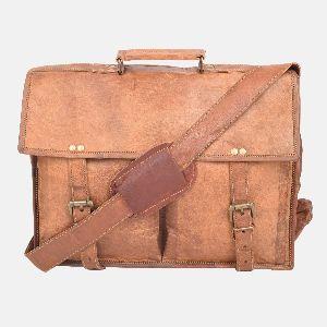 "15"" Handmade Vintage Leather Laptop Briefcase Brown"