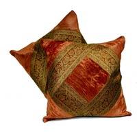 2 Traditional Banarsi Silk Brocade Velvet Indian Ethnic Decorative Orange Throw Pillow Cushion Cover