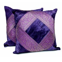 2 Traditional Banarsi Silk Brocade Velvet Indian Ethnic Decorative Purple Throw Pillow Cushion Cover