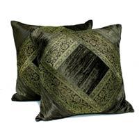 2 Traditional Banarsi Silk Brocade Velvet Indian Ethnic Decorative Black Throw Pillow Cushion Covers