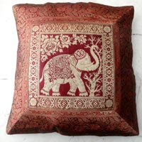 25pc Indian Elephant Traditional Silk Cushion Covers