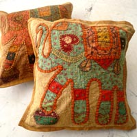25pc Light Brown Applique Handcrafted Cushion Covers