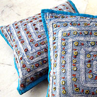 Mirror Work Embroidery Cushion Cover