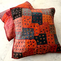 5 Red Applique Handcrafted Patchwork Pillow Cases