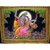 Lord Krishna, Goddess Radha Sequin Sitara Batik Cotton Wall Tapestry