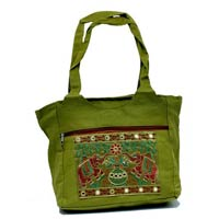 Traditional Ethnic Elephant Design Green Color Embroidered..
