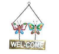 Iron Hand Painted Butterfly Welcome Wall Hangings