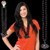 Black Beaded Necklace with Football Pendant
