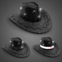 Black Sequin LED Cowboy Hats - Imprintable Bands Available