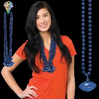 Blue Beaded Necklace with Football Pendant