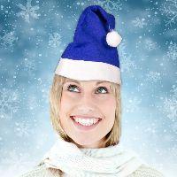 Blue Felt Santa Hats