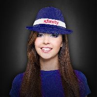 Blue Sequin Costume Fedora With Imprinted Band