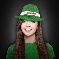 Green Sequin Costume Fedora with Imprinted Band