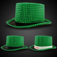 Green Sequin Top Hats (Imprintable Bands Available)
