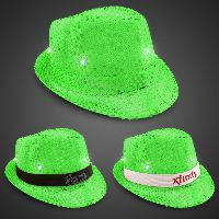 Neon Green LED Sequin Fedora