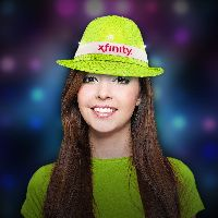 Neon Light Green LED Sequin Fedora with Imprinted Band