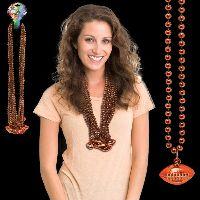 Orange Beaded Necklace with Football Pendant
